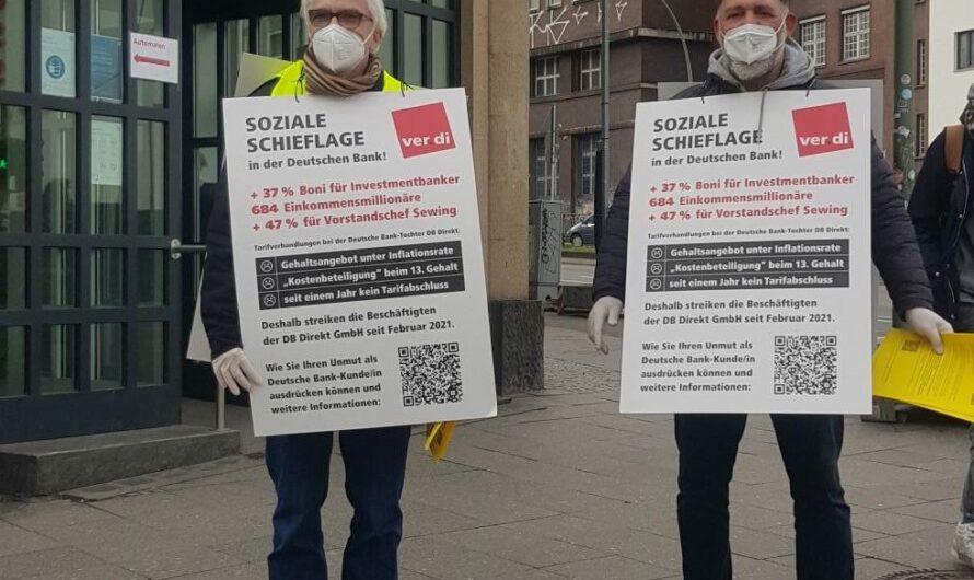 Der Streik der DB Direkt geht weiter. Noch immer gibt es kein Angebot vom Arbeitgeber.